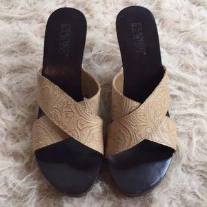 Franco Sarto leather upper tan sandles